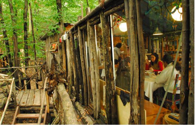 Veduta di un pranzo condiviso, dalla finestra di una casa sull´albero, della comunità in Piemonte